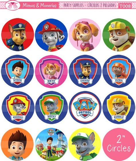 paw patrol names paw patrol 2 quot circle images digital collage sheet 8 5x11 quot cupcake toppers