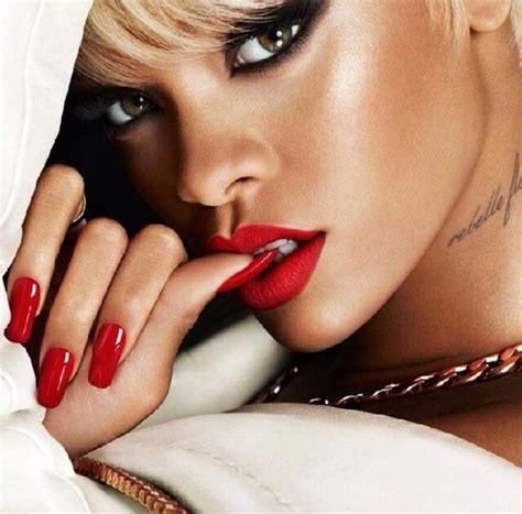 Duvet Cover Tutorial Make Up Red Lipstick Rihanna Fashion Lipstick Nail