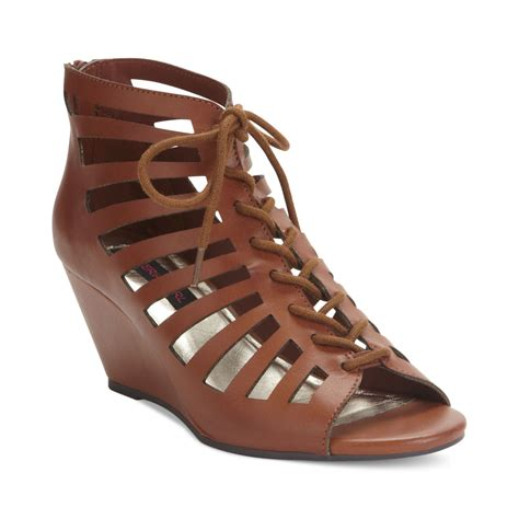 material harley lace up wedge sandals in brown