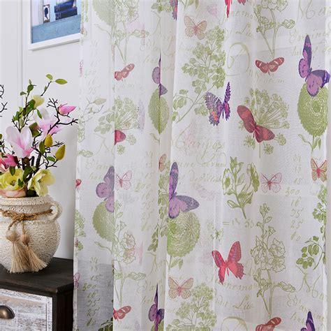 Fabric For Kitchen Curtains Soft Fabric Sheer Tulle Curtains For Bedroom Colorful Butterfly Children Curtains For Living