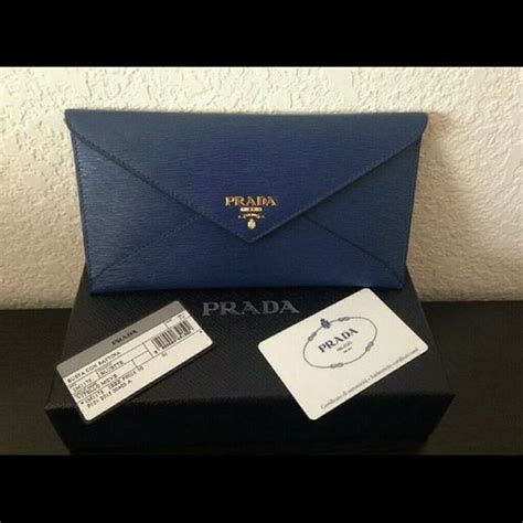 Prada Envelope Wallet 4 5jt prada vitello move envelope wallet clutch in blue boutique black colors leather and zippers