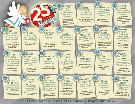 printable advent calendar messages the christmas angel 25 days of messages