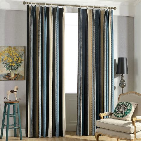 Multi Colored Curtains Drapes New Arrival Chenille Multi Color Striped Curtains