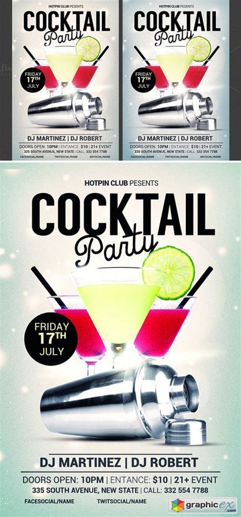 cocktail flyer cocktail flyer template 187 free vector stock