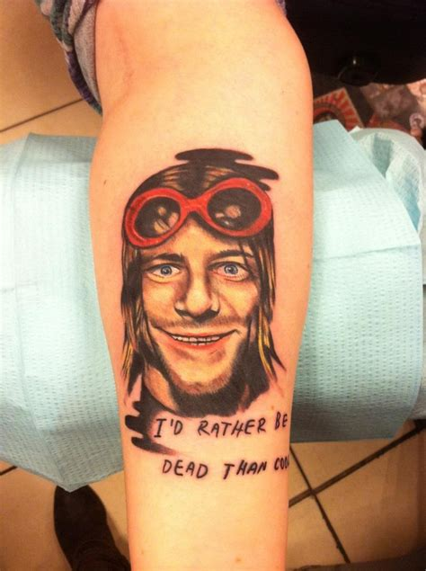 kurt cobain tattoo kurt cobain quot i d rather be dead than cool quot kurt