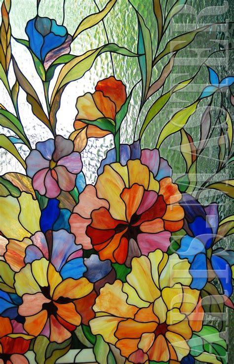 flower design in glass vidrieras para puertas violetas tiffany pinterest