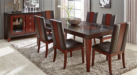 room to go dining sets sofia vergara savona chocolate 5 pc rectangle dining room