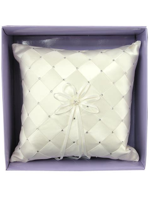 W Pillow by Ivory Woven Fabric W Embroidered Rhinestone Ring Bearer Pillow
