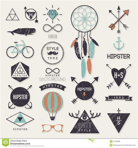 hipster style elements icons and labels stock vector hipster style elements stock vector image 41409996