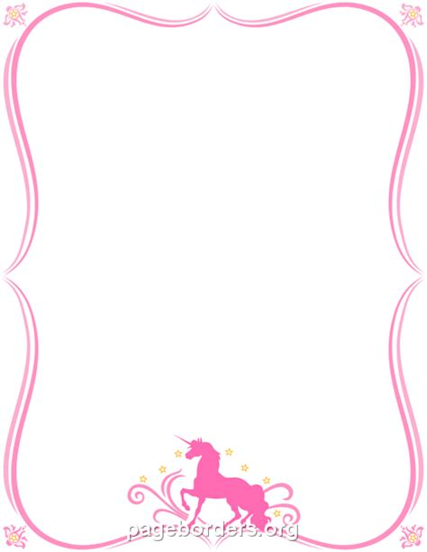 free printable unicorn stationery printable unicorn border use the border in microsoft word