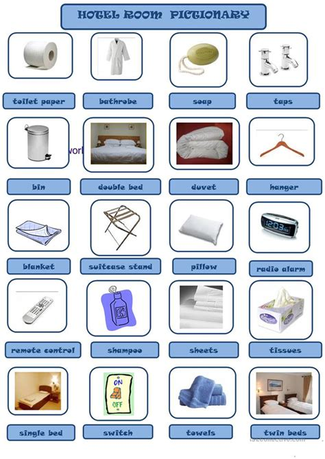 printable degree hotel room vocabulary worksheet free esl printable