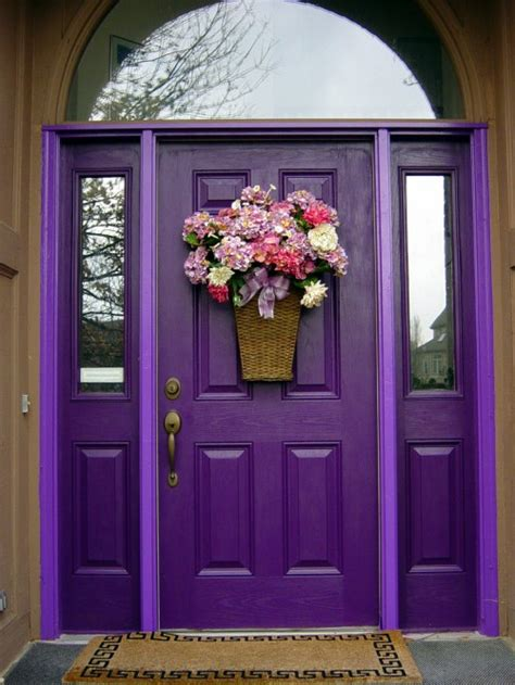 Exterior Door Decor Cool Purple Color Front Door Ideas