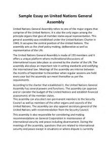 Essay Exles About by Sle Essay On United Nations General Assembly