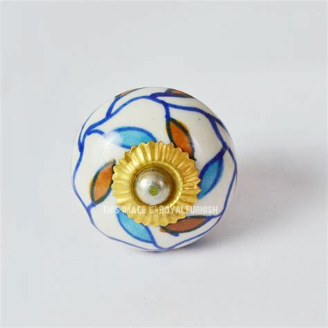 knobs and more home decor blue floral leafs decorative ceramic doors cabinet knobs