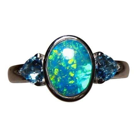blue opal blue opal and topaz ring 14k gold opal rings