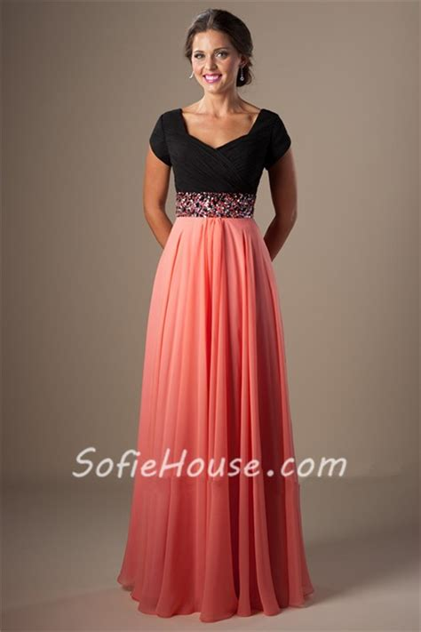 a line cap sleeve black and coral chiffon evening