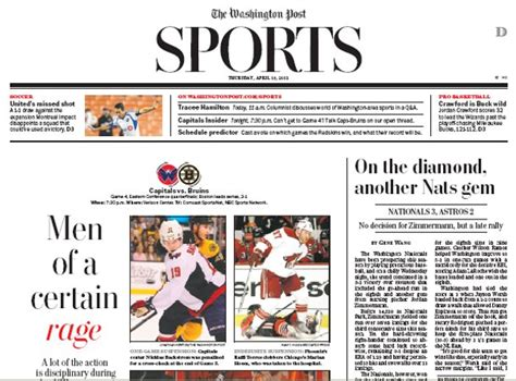 Washington Post Sections by Sports Section Newspaper In Education