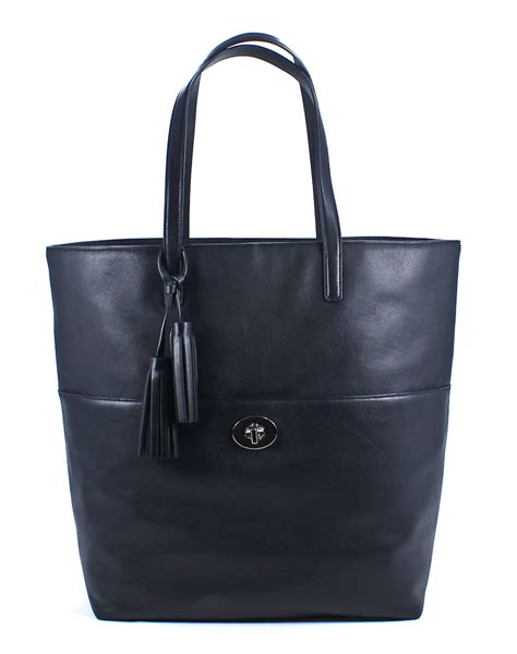 Coach Tote Black Leather Shoulder Bag coach black leather legacy turnlock tote shoulder bag new