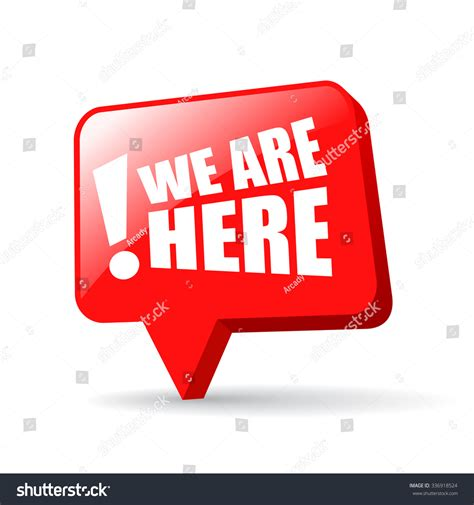 we in here we are here map pin isolated on white background stock