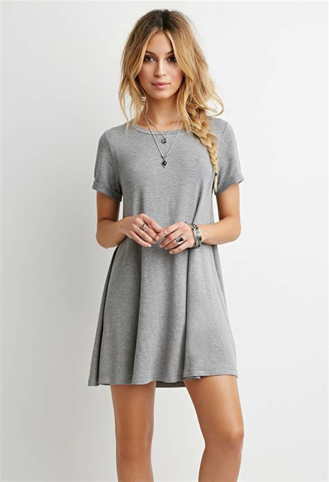 Tshirt Dress On forever 21 heathered t shirt dress in gray lyst