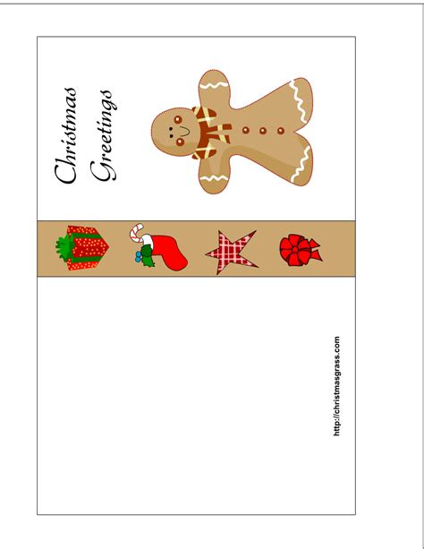 card free printable free printable card with gingerbread