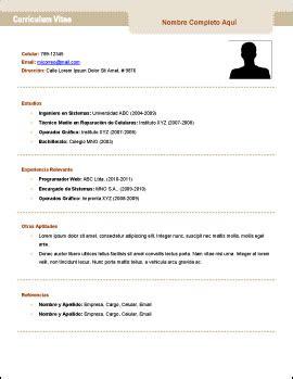 Plantillas De Curriculum Vitae Sencillo Gratis plantilla de curr 237 culum v trabajopolis bo
