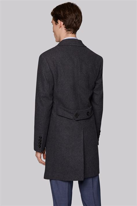 knitted overcoat hardy amies tailored fit charcoal wool overcoat