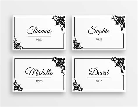 Table Name Tags Template Printable Vastuuonminun Black And White Card Templates