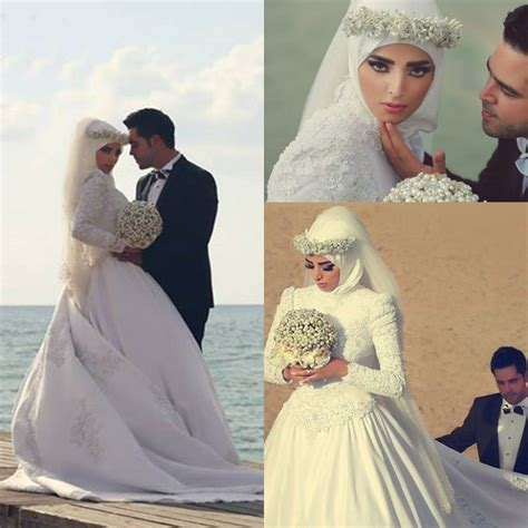 Jilbab Ziana majestic white wedding gown with for muslim