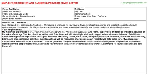 Cashier Supervisor Cover Letter by Casino Cashier Cover Letters Sles