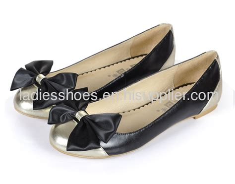 Flatahoes Fashion Import bowtie gold and black flat shoes from china manufacturer hoson import export co