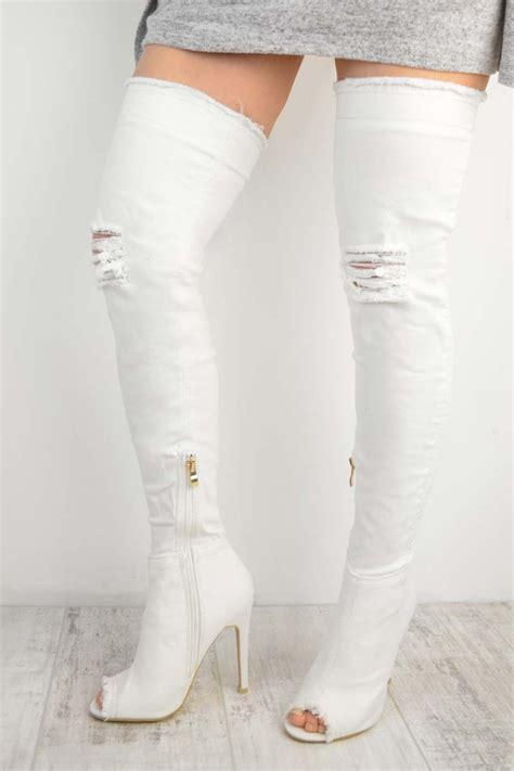 white high heeled boots white denim thigh high rip detail stiletto high heel boots