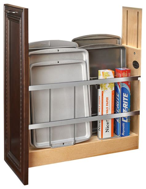 kitchen cabinet divider organizer pull out wood foil wrap tray divider cabinet organizer