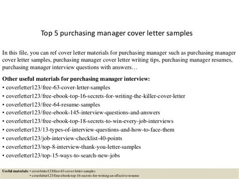 top 5 purchasing manager cover letter sles