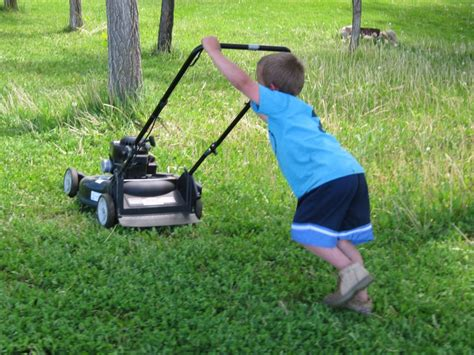 mowing the lawn for the a peace in paradise junior joseph the lawn mowing
