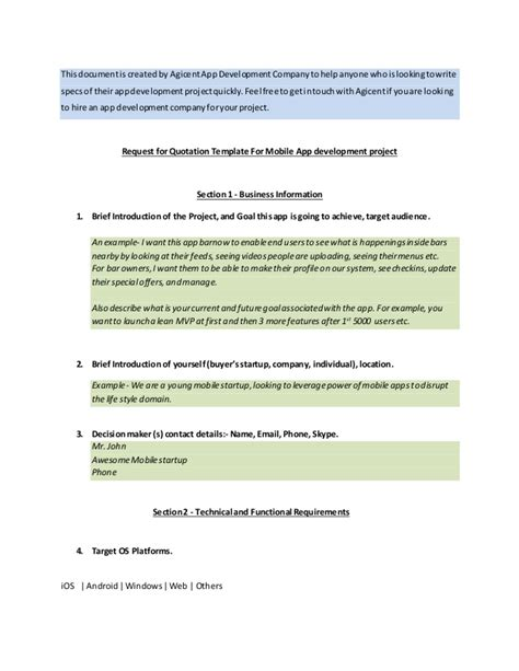 mobile app specification template sle app requirements