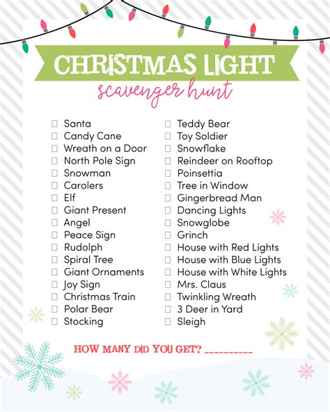 printable christmas light scavenger hunt christmas light scavenger hunt