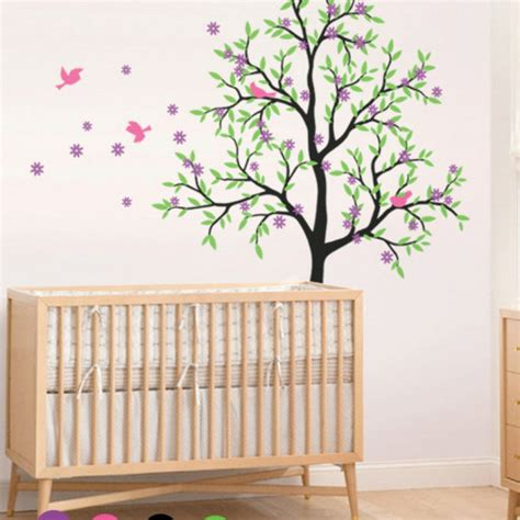 Tree Wall Decal Cherry Blossom Mural Large Nursery Decor Cherry Blossom Wall Decal For Nursery