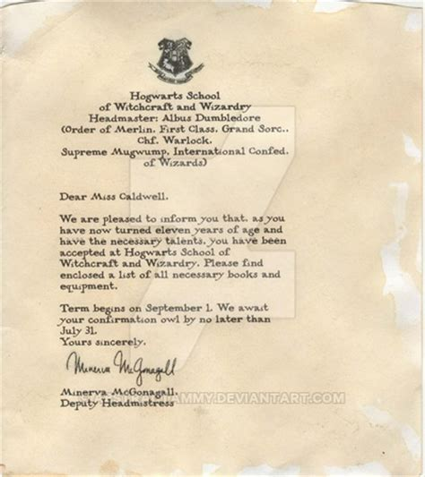 Harry Potter Acceptance Letter List Hogwarts Acceptance Letter By Abstractammy On Deviantart