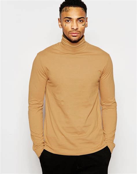 T Shirt Camel lyst asos sleeve t shirt with roll neck in camel in