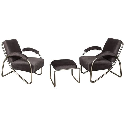 bauhaus chair and ottoman pair of art deco bauhaus style tubular steel lounge chairs