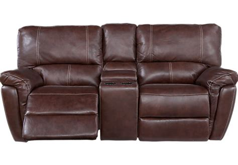 Leather Loveseat With Console Browning Bluff Brown Leather Reclining Console Loveseat