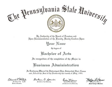 Bs Mba Penn State by Sles Of Diploma Templates