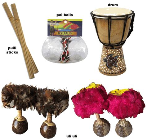 Hawaiian Home Decor by Hula Dance Instruments Uli Uli Puili Poi Balls Drum