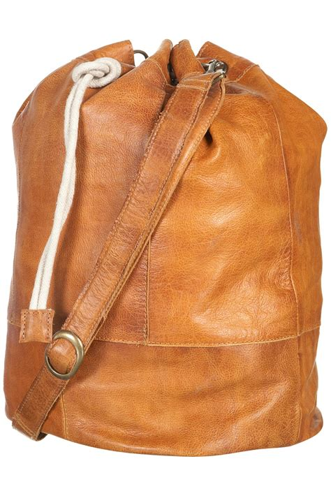 Bag Free Pouch Handbag lyst topshop drawstring leather duffle bag in brown