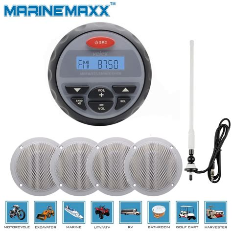 boat fm radio antenna marine gauge radio boat fm am audio bluetooth stereo atv