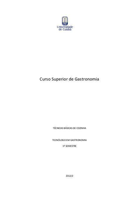 Curso Superior de Gastronomia TÉCNICAS BÁSICAS DE COZINHA