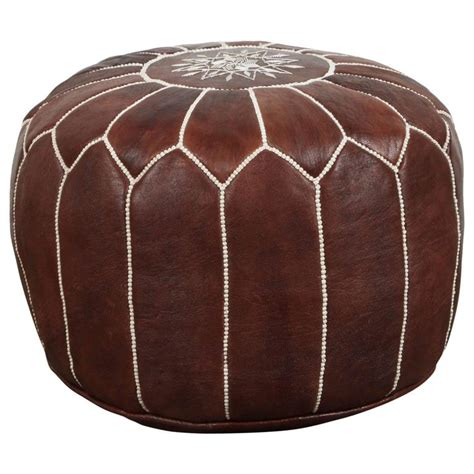 Pouf Seating Ottoman Moroccan Brown Leather Pouf For Sale At 1stdibs