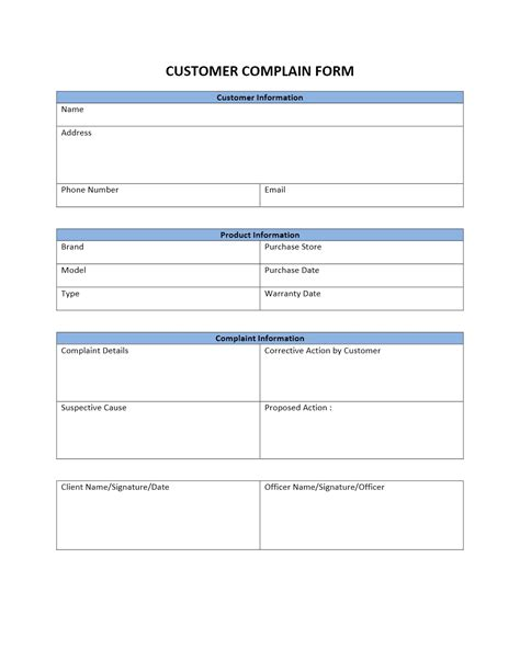 customer template customer complaint form