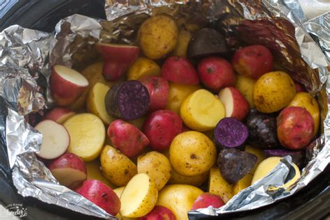 tri color potatoes cooker garlic rosemary tri color potatoes made